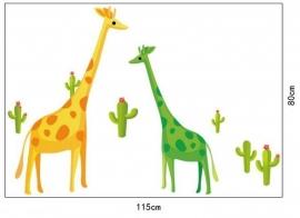 muursticker giraffe en cactus groen / geel kinderkamer