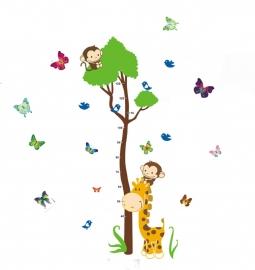 Muursticker Hoogtemeter aapjes en giraffe en kleurrijke vlinders
