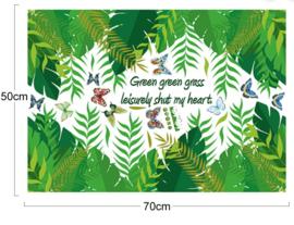 Muursticker blaadjes palm groen strook