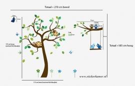 Muursticker Boom met tak en dieren XL (jongenskamer)