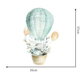 Muursticker konijnen in luchtballon groen