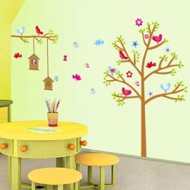 Muursticker boom met  vrolijk vogeltjes familie kinderkamer