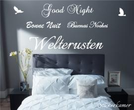 Welterusten in verschillende talen met vogels