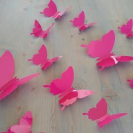 Muursticker 3d vlinders  (donker roze/fuchsia) kinderkamer meisjes