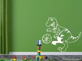 Muursticker spelende dinosaurus met basketbal  (4)