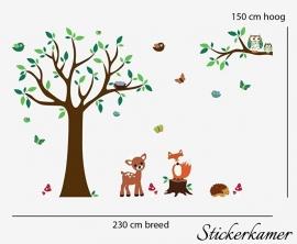 Muursticker boom met dieren / beesten
