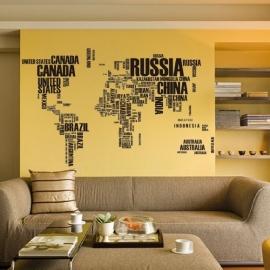 Muursticker Wereldkaart in letters