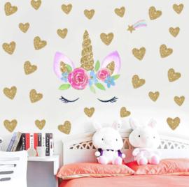 Muursticker unicorn - eenhoorn bloemetjes oogjes en hartjes meisjeskamer / babykamer