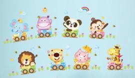 Muursticker beesten / dieren in trein kinderkamer