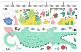 Muursticker groeimeter - hoogtemeter krokodil kinderkamer
