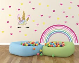 Muursticker Unicorn XL + Regenboog XL + Hartjes Kinderkamer