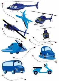 Muursticker Voertuigen, helikopter (blauw) kinderkamer