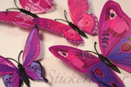 Kleurrijke 3D vlinders paars - 12 stuks - muurdecoratie babykamer