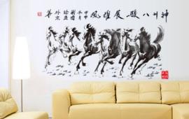 Muursticker paarden met chinese karakters zwart