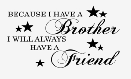 Because i have a brother i will always have a friend muursticker met sterren