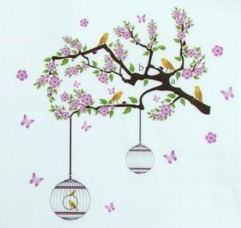 Muursticker bloesem boom - tak met vogels wanddecoratie paars