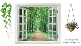 Muursticker raam uitzicht op bos  - natuur