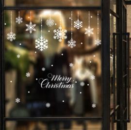 Raamsticker Merry Christmas witte sneeuwvlokken statisch hechtend