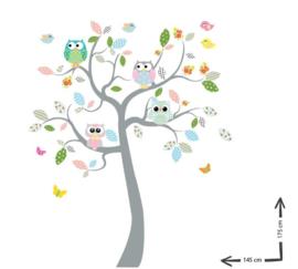 Gekleurde muursticker safari boom met uilen babykamer
