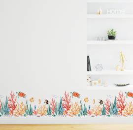 Muursticker koraal met zeevissen decoratie
