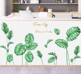 Muursticker decoratieve palmbladen groen