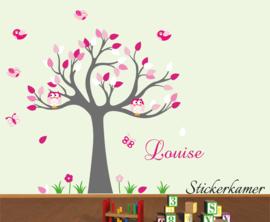 Muursticker boom met uilen en vogels kinderkamer roze thema