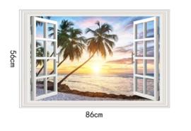 Muursticker strand uitzicht palmbomen