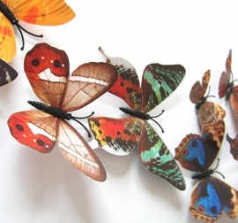 Kleurrijke 3D vlinders herfst bruin - 12 stuks