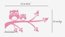 Muursticker uilen op tak babykamer  en kinderkamer