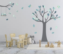Muursticker grow tree  en tak mint thema kinderkamer XL