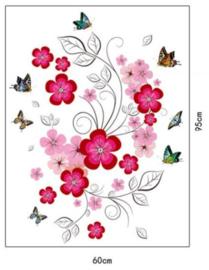 Muursticker sierlijk licht en donker roze bloemen met vlinders