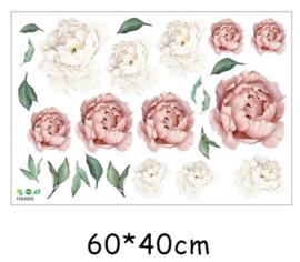 Muursticker pioenroos bloemen roze en wit  slaapkamer