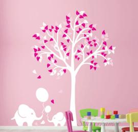 luxe muursticker boom met olifant roze