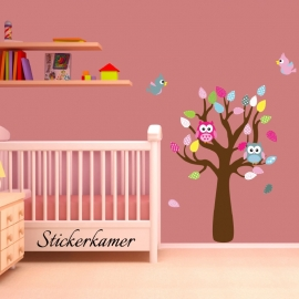 Kleurrijke muursticker boom met uilen en vogels meisjeskamer