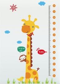 Muursticker giraffe  en aap hoogtemeter / groeimeter