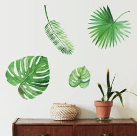 Muursticker tropisch jungle muurdecoratie planten - bladen