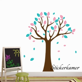 Muursticker boom XL ( licht roze + turquoise )