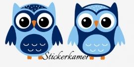 2 losse  uilen licht blauw / donker blauw
