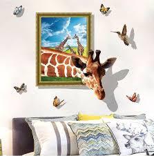 Muursticker giraffe 3d effect met kolibrie vogel en vlinders