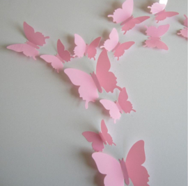 Muursticker losse 3d vlinders  24 stuks (Roze).