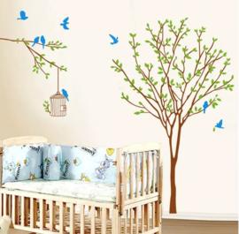 Muursticker boom met groene blaadjes en blauwe vogels