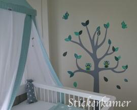 Sticker arbre  avec les hiboux et les oiseaux (menthe)