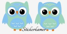 2 losse  uilen licht blauw / mint