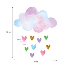 Muursticker wolk en hartjes unicorn stijl kinderkamer meisjes