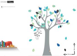 Muursticker boom met aapje en uiltjes kinderkamer