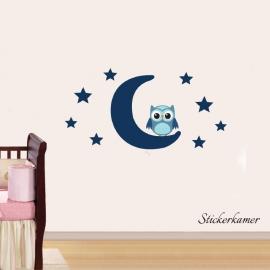 Muursticker uiltje op maan en sterren (mix and match)