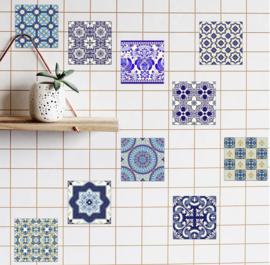 Blauw en wit porselein stijl  tegel stickers
