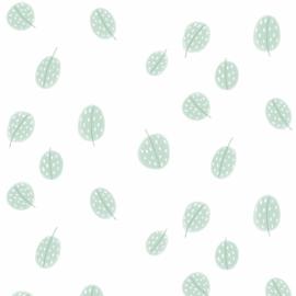 Behang - lentegroen blaadjes motief / patroon