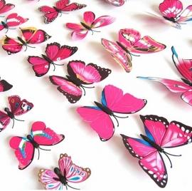 Kleurrijke 3D vlinders roze - 12 stuks - muurdecoratie babykamer
