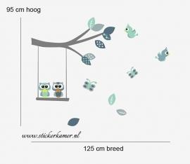 Muursticker tak met uilen en vogels mint